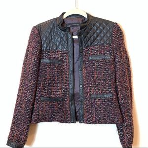 Zara: tweed and leather jacket in size med
